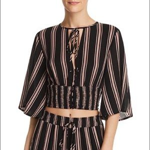 RE:NAMED QUINN STRIPED BUTTON FRONT CROP TOP